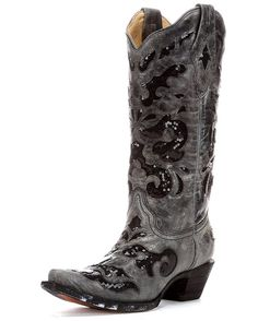 Corral Women's Black Crater Sequins Inlay Boot