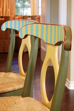 Bar stools given the MacKenzie~Childs look with CHALK PAINT®, Painted Furniture, San Clemente, CA    www.MAKandJill.com
