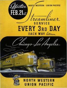 North Western/Union Pacific Streamliner Service travel poster