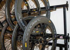 8 Bike Wheel Storage Rack http://www.procyclestorage.co.uk/product/8-bike-wheel-storage-rack/