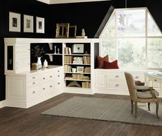 Decora Cabinetry- love the white against the black wall