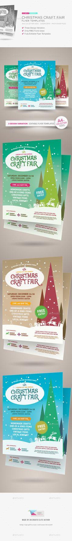 Printable Flyer Chrismas Holiday Fair Fest Bazaar Craft Show  Pto