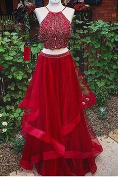 Classy Prom Dresses, Two Piece Prom Dress,Red Prom Dress,Backless Evening Dress,Long Prom Gown Prom Dresses Long Homecoming Dresses Long, Prom Dresses Two Piece, Long Prom Gowns, Backless Prom Dresses, A Line Prom Dresses, Tulle Prom Dress, Cheap Prom Dresses, Evening Dresses, Formal Dresses