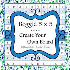 Boggle 5 x 5 -- Create Your Own Board freebie