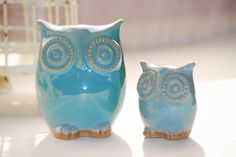 owl decor in robins egg set of two by claylicious on Etsy, $45.00