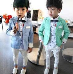 Hu sunshine wholesale new 2014 5set/1lot boys polka dot blazer kids light blue dots suit outerwear children clothes $59.03