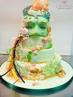 Carnaval inspiration mask wedding cake all done in sugar
