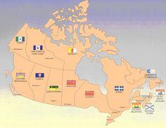 canadian provinces flags capitals map