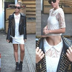Sheinside Lace Dress, Choies Studded Jacket, Choies Buckled Boots