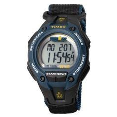 Timex Men's T5K413 Ironman Traditional 30-Lap Mega Black/Blue Case Black Fast Wrap Velcro Strap Sports Watch,$32.52