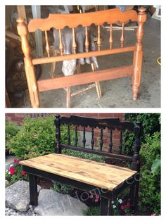 Unmatched front/back legs- still looks good Refurbished Furniture, Repurposed Furniture, Furniture Makeover, Painted Furniture, Furniture Projects, Home Projects, Diy Furniture, Projects To Try, Headboard Benches