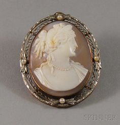 Antique Carved Shell Cameo Pendant/Brooch Of A Woman In Profile, Mounted In 14k White Gold Filigree Frame Set With Four Seed Pearls