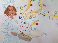 Ilustração feita pela amiga e artista plástica Jamaira Pacheco na cozinha de casa.