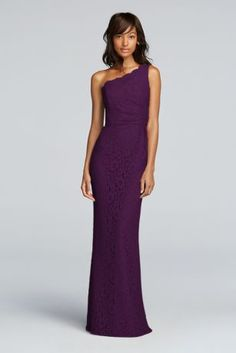 Fitted with allover lace, this one shoulder bridesmaids dress will be one to remember!  One shoulder illusion neckline.  Natural waistline paired with floor length skirt.  Long version to Style F19054.  Fully lined. Zipper Back. Imported polyester. Dry clean only.  To protect your dress, try our Non Woven Garment Bag.
