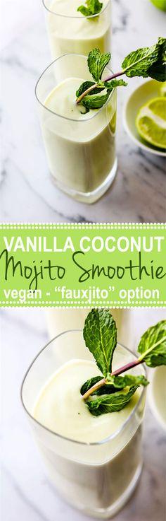 Make this Vegan Creamy Vanilla Coconut Mojito Smoothie (plus a Nonalcoholic Fauxjito Option) right in your Vitamix!
