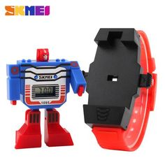 2016 SKMEI Kids LED Digital Children Watch Cartoon Sports Watches Relogio Relojes Robot Transformation Toys Boys Wristwatches