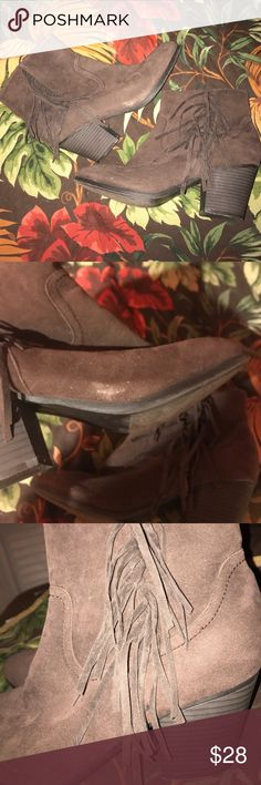 Suede Fringe Booties Perfect for Fall! Worn only a few times in great condition other then the scuffing which is shown Shoes Ankle Boots & Booties