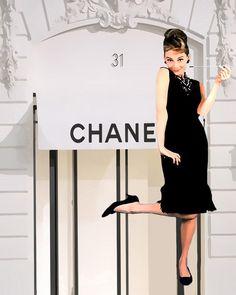 Audrey Hepburn At Chanels Pop Art Canvas 16 x 20