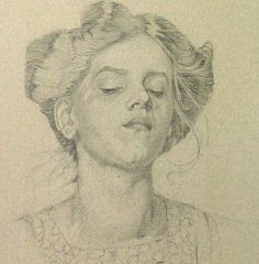 Drawing of a woman's head, Mucha
