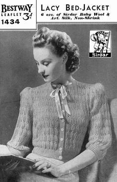 Vintage Ladies Lacy BedJacket Knitting Pattern by LittleJohn2003
