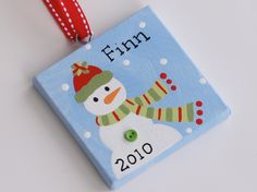 3x3 Canvas Christmas Ornament  - Personalized