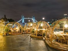 You Can Dine in an Igloo by London& River Thames This Winter London's Coppa Club restaurant is re-introducing the bubbles for festive alfresco dining. London Dreams, London Christmas, Christmas Mood, London Clubs, Holiday Resort, River Thames, London Restaurants, London Travel, Winter Garden