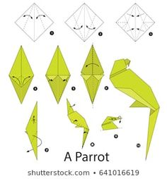 de origami Step by step instructions how to make origami A Parrot. Step by step instructions how to make origami A Parrot. Origami Design, Origami Parrot, Instruções Origami, Origami Modular, Origami Ball, Origami Dragon, Origami Fish, Origami Butterfly, Paper Crafts Origami