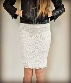 Trash To Couture: DIY out-dated lace tshirt into lovely pencil skirt. I looked at the instructions and very easy.