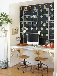 home office with chalkboard
