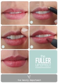 Fuller lip trick! Apply highlighter along the natural line of your top lip and blend, then add lipstick or gloss♥