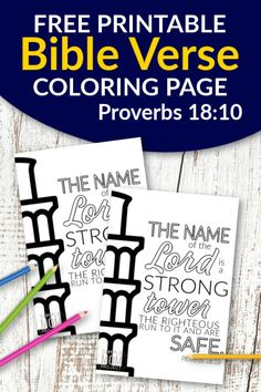 Don't you know the best quotes come from Scripture? Use these free printable bible verse coloring pages to get inspired about God. He is after all our salvation. This Proverbs 18:10 coloring sheet is great for kids and adults, even preschoolers. They are perfect for wall decor or even a quick Easter or Christmas gift idea! #bibleverse #bibleversecoloring #scripturecoloring #biblejournaling Printable Bible Verses, Scripture Verses, Free Christmas Coloring Pages, Bible Verse Coloring Page, Free Printable Coloring Sheets, Diy Crafts For Girls, Book Of Proverbs, Free Bible, Christmas Colors