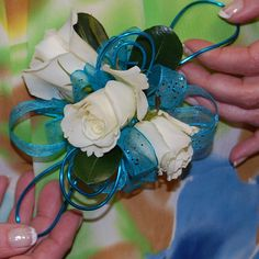 Blue and White Prom Corsage by Monday Morning Flower and Balloon Co, via Flickr