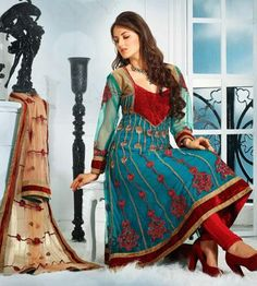 $73.98 Blue Net Embroidery A Line Anarkali Salwar Suit 25918