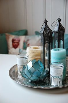 With rattan plate , lantern, lotus candle holder, candles Bohemian Decor/Boho Chic Decor/Global Decor/Gypsy Decor Moroccan Home Decor, Indian Home Decor, Moroccan Style, Moroccan Lanterns, Moroccan Living Rooms, Moroccan Theme, Moroccan Interiors, Lotus Candle Holder, Candle Holders