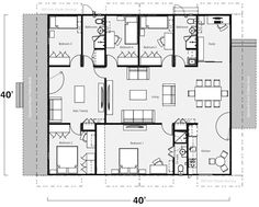 Just some ideas on floor plans K. - Convert to SITE Office with Guest space - Three Bath Shipping Container Home Floor Plan - Total Square Footage: 1600 sf Five Shipping Containers Shipping Container Buildings, Cargo Container Homes, Shipping Container Home Designs, Building A Container Home, Storage Container Homes, Shipping Containers, Container Houses, Container Home Plans, Storage Containers
