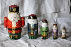 Vintage Nutcracker Nesting Dolls, Collection of 5, Christmas Decoration, Santa Matryoshka Russian Dolls.