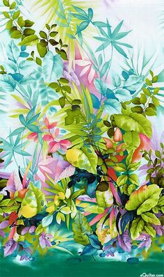 Paradise Island - Tropical Watercolor Border - Sea Mist by Michael Miller Watercolor Border, Watercolor Sea, Watercolor Plants, Watercolor Paintings, Tropical Art, Tropical Flowers, Tropical Prints, L Wallpaper, Paradise Wallpaper