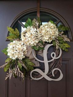 BEST SELLING Year Round Cream Hydrangea Wreath for Front Door - Grapevine Wreath with Burlap and Initial - Monogram Everyday Wreath - DIY Projects - Burlap wreath Monogram Wreath, Diy Wreath, Grapevine Wreath, Wreath Ideas, Letter Wreath, Monogram Door Decor, Front Door Monogram, Tulle Wreath, Burlap Wreaths
