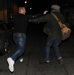 Jason~in Soho 31.1.13...paparazzi should just get outta his face now and then...luckily for the pap...Jason was having a bit of fun after a night drinking...though he gave the pap a 'run' lol!