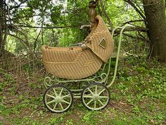 Antique Victorian Baby Doll Buggy Carriage Pram Basket Shape Natural Wicker | eBay