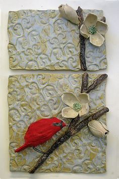 Cardinal in Dogwood: Amy Meya: Ceramic Wall Art | Artful Home