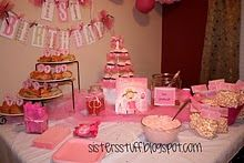 Pinkalicious Party - note banner, pink cupcakes, pink popcorn gift bags
