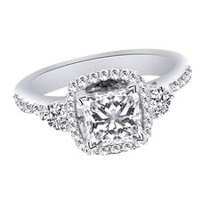 1.75 CT Princess Cut Diamond Solitaire Engagement Ring Solid 9 CT White Gold #SolitairewithAccents #Christmas