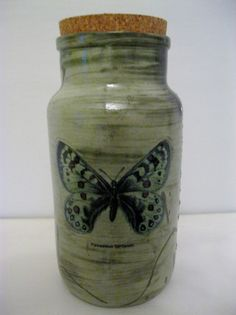Ceramic slip cast green jar with butterfly with by jawisecreations, £5.00