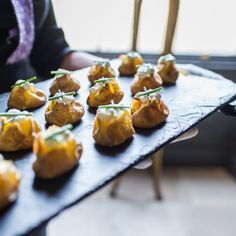 Looks delicious! Claire & Ben- Image by Ian Worth Photography #wedding #food #canapes #snacks