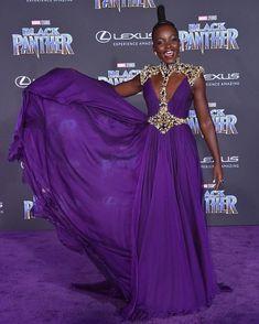 Lupita Nyong'o in Atelier Versace, Black Panther premiere Black Panther Marvel, Atelier Versace, My Black Is Beautiful, Beautiful People, Pantone, Versace Gown, Violet, Purple Dress, Black Girl Magic