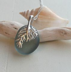 Blue Grey Sea Glass Coral Sterling Silver Necklace by SeahamWaves, £34.00