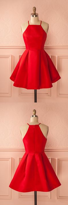 short red homecoming dress prom dress, 2017 straps party dress short red party dress
