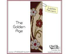 Loom Pattern The Golden Age  cuff bracelet by VikisBeadingPatterns, $6.50