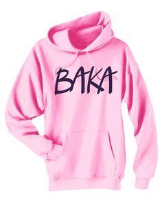 Baka Anime Hoodie japanese phrase sweatshirt by gesshokudesigns